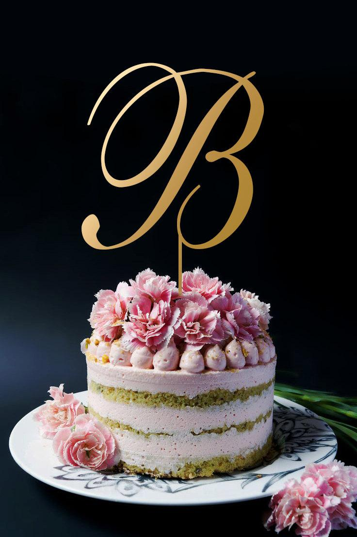 Hochzeit - Gold Monogram Cake Toppers, Gold Cake Topper, Personalized Monogram Cake Topper A142