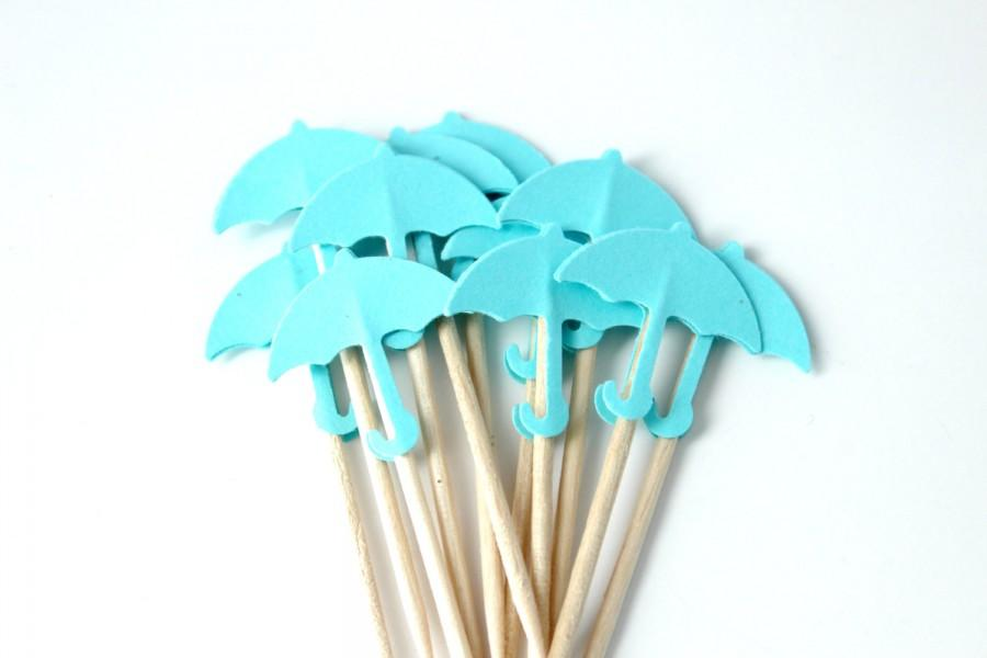Mariage - Blue Umbrella Cupcake Toppers, Spring Wedding, Baby Shower, Baby Boy