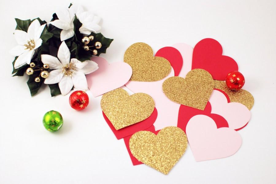 Mariage - Valentines Day Decor - Valentines Day Decorations - Valentines Day Gift Confetti - 45 Paper Hearts - Red Pink Gold Hearts - Wedding Confetti