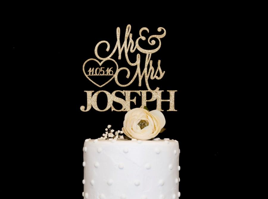 Mariage - Custom Wedding Cake Topper With Date