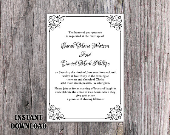 Hochzeit - DIY Wedding Invitation Template Editable Word File Instant Download Elegant Printable Invitation Black Invitation Border Invitation Flower