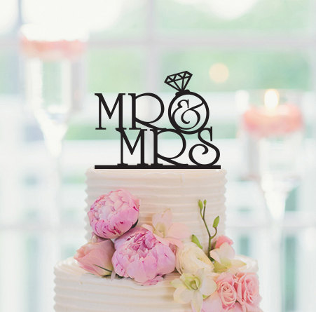 Mariage - Wedding Cake Topper Mr Mrs Personalized Topper Cake Decoration 047