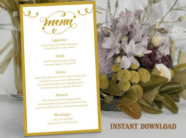 Mariage - Printable Wedding Menu Template DIY Menu Card Template, Script Menu Template, Editable Menu, Gold Menu Download Calligraphy Menu, Swirl Menu