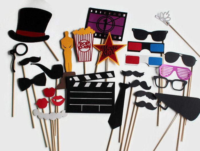 Mariage - Movie Award Photo Booth Props - Hollywood Glamour Collection perfect for oscar bash, hollywood party, cinema birthday or a fun movie night