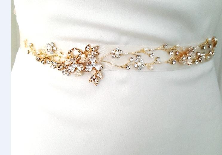 Свадьба - Rose Gold Bridal Crystal Sash. Rose Gold Rhinestone Pearl Applique Wedding Belt. Vintage Rose Gold Belt-Style 780