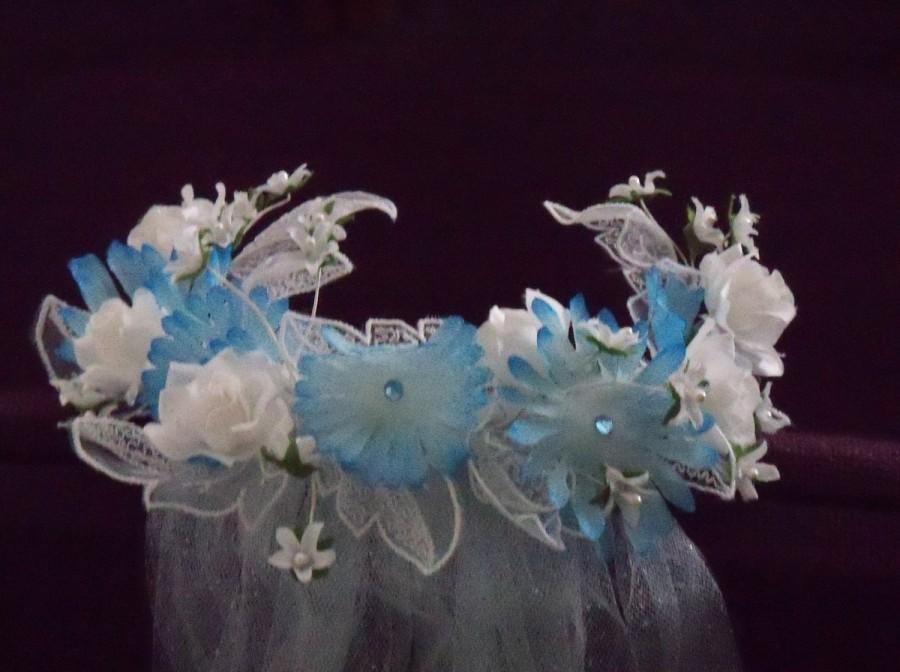 Wedding - Handmade Veil Flowered Headpiece Aqua Tulle Wedding Bridal Bride Beach Garden Halloween Costume Cosplay