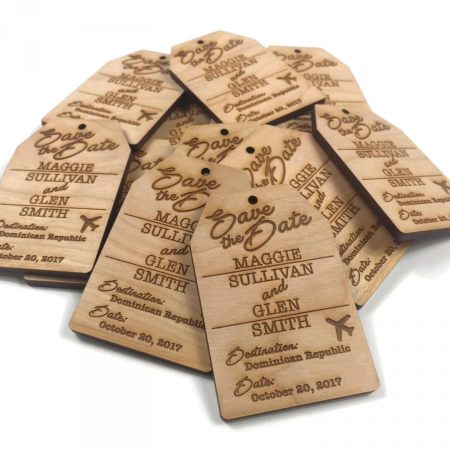 Custom Save The Date Luggage Tag Destination Wedding Wood Fridge ...