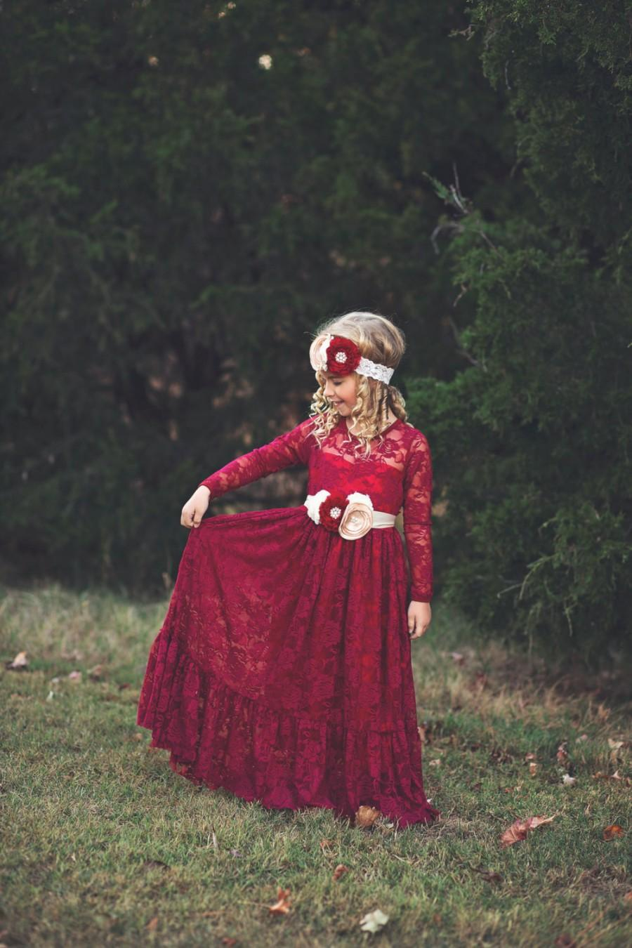 Lace Flower Girl Dress, Burgundy, Girl Lace Dresses, Wine Red ...