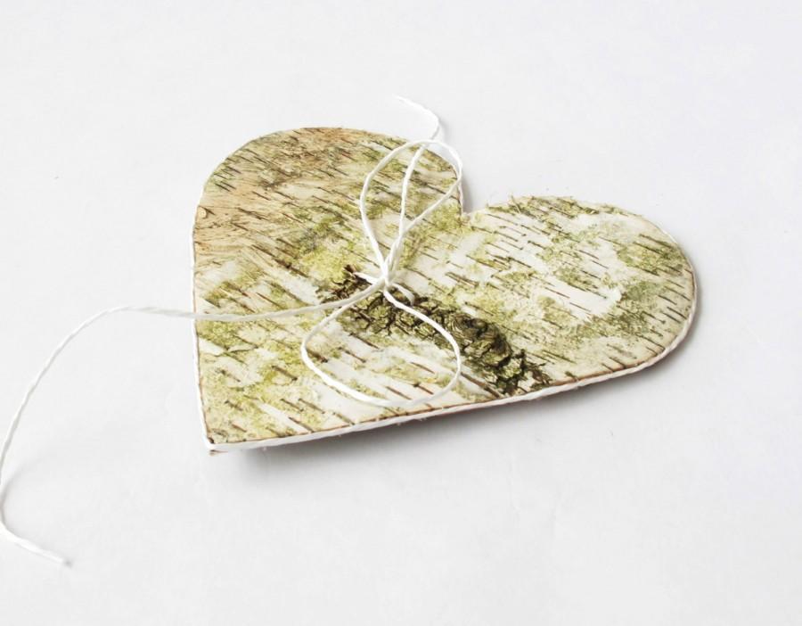 Hochzeit - Ring Pillow - Wedding Birch Bark Rings Pillows Heart Form Decorative Ribbon Natural Handmade Bridal Ring Bearer Pillow Flower Girl Boy Day
