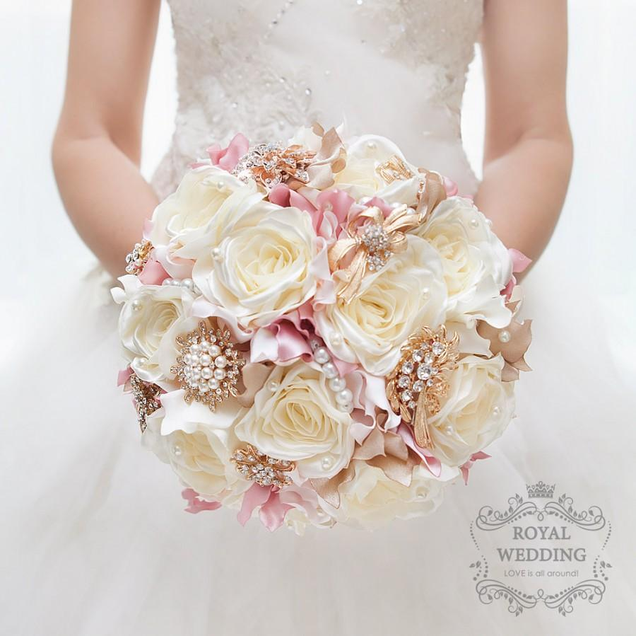 Hochzeit - Bridal Bouquet Vintage Wedding Brooch Bouquet Wedding Bouquet Ivory Blush Pink Champagne Gold Bouquet Bridal Belt Custom Bouquet