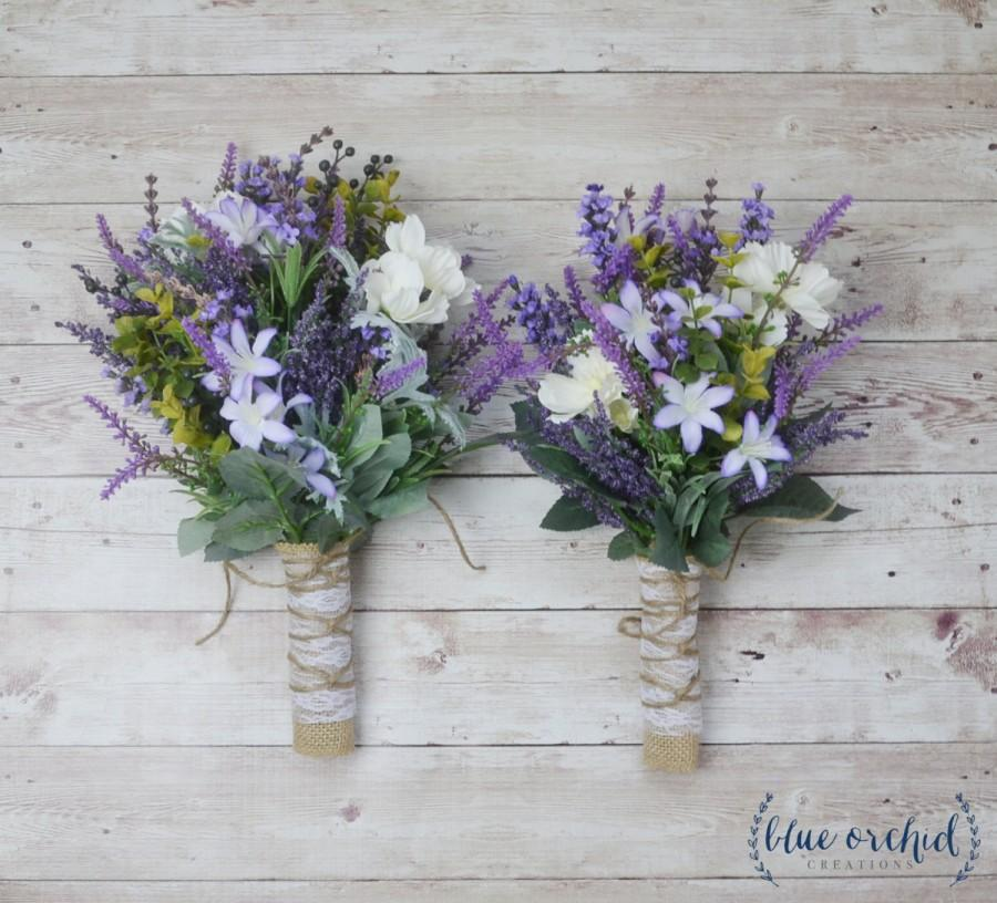 Wildflower Bridesmaid Bouquet - Lavender Bouquet, Purple Bouquet ...