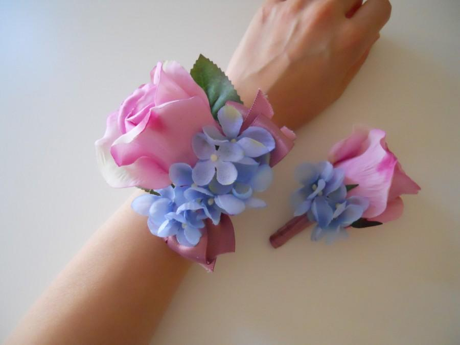 Mariage - Pink Rose Wrist Corsage Light Blue Hydrangea Accent with Matching Bout