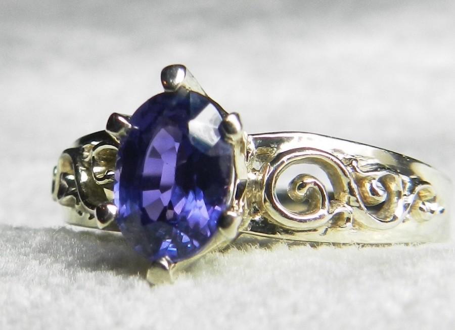 Wedding - Purple Sapphire Engagement Ring Violet Sapphire Ring 1.0 carat Ceylon Purple Natural Sapphire 14k White Gold filigree setting
