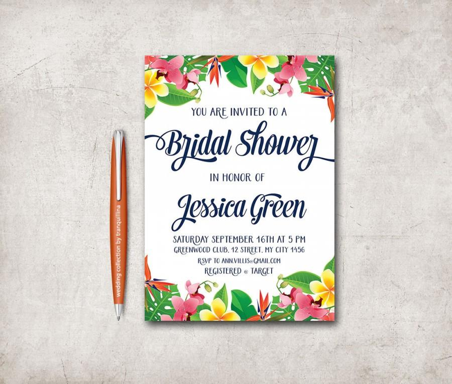 Tropical Bridal Shower Invitation Printable Birthday Beach Floral Hawaiian Invite