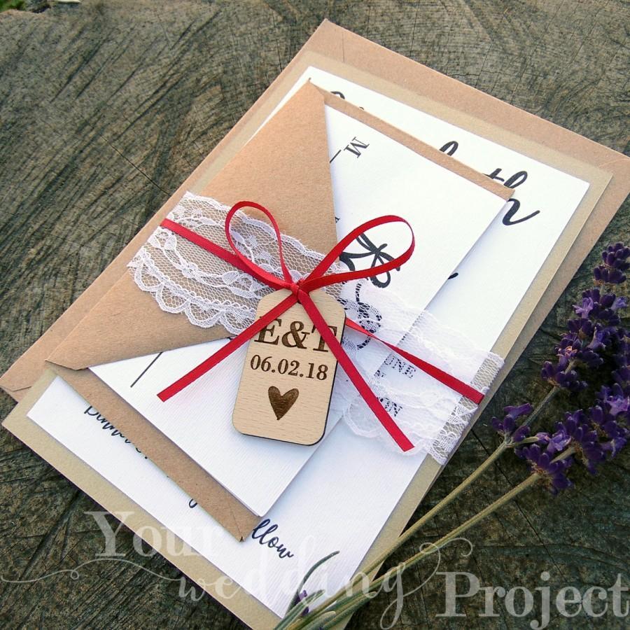 Wedding - Custom Wedding Invitation Set with Wood Tag, Lace & Satin Tie