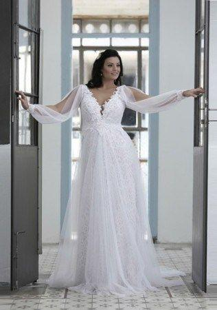 Hochzeit - Long Sleeve Wedding Dress For Plus Size Bride - Darius Cordell
