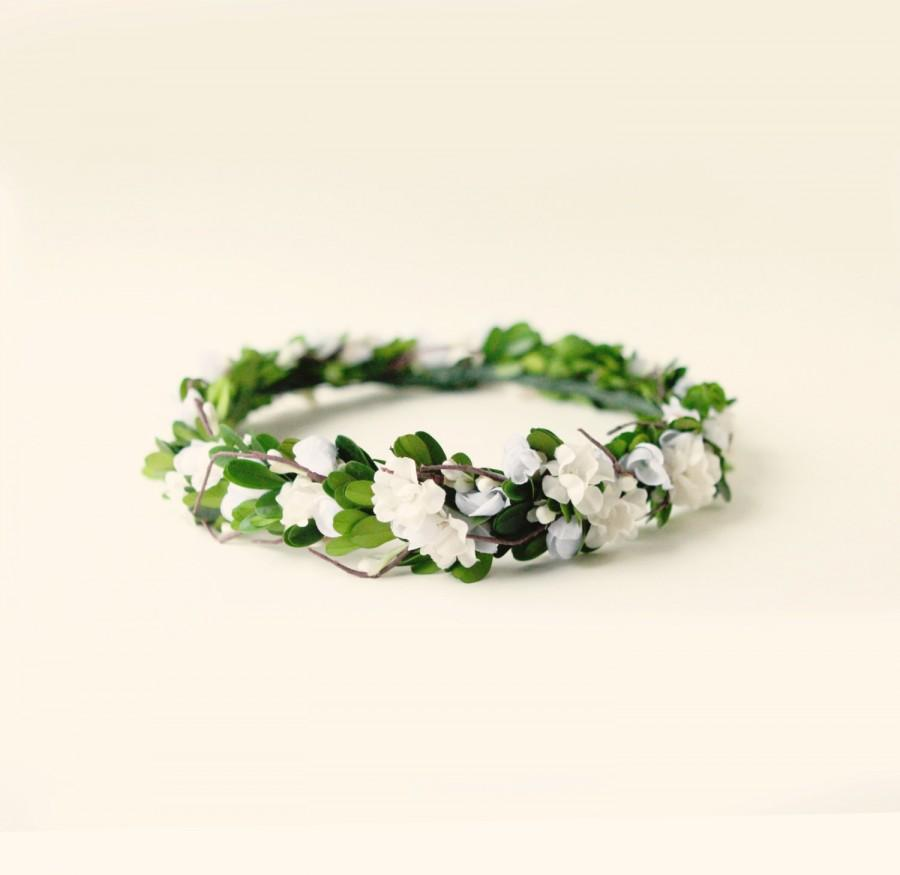 Boxwood Flower Crown Green Leaf Head Piece Boho Bridal Flower