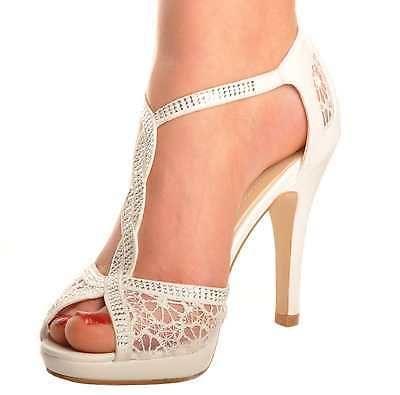 8a3c0699bee1 Details About Off White Lace Diamante Platform Wedding Sandals Heels T-Bar  Peeptoe Shoes