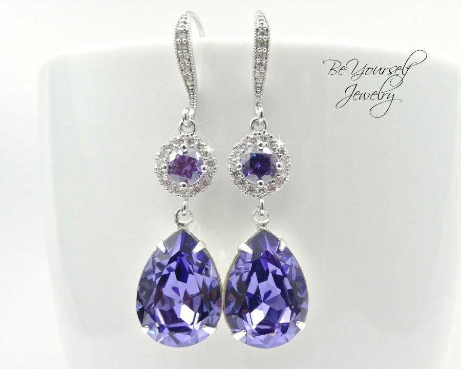 Wedding - Tanzanite Bridal Earrings Purple Teardrop Bride Earrings Swarovski Crystal Lilac Wedding Jewelry Lavender Wedding Earrings Bridesmaid Gift