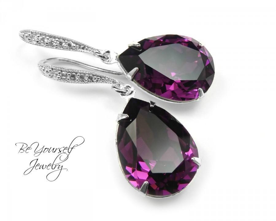 Mariage - Purple Bridal Teardrop Earrings Wedding Jewelry Plum Bride Earrings Swarovski Crystal Amethyst Earrings Bridesmaid Gift February Birthstone