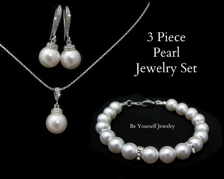 زفاف - Wedding Jewelry Pearl Bridal Earrings Bride Necklace Pearl Bracelet Swarovski Pearls Bridesmaid Jewelry Pearl Bridal Jewelry Bridal Pendant