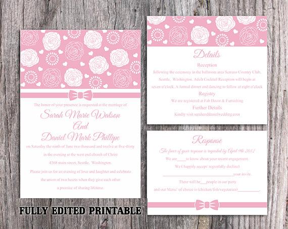 Wedding - Printable Wedding Invitation Suite Printable Invitation Pink Wedding Invitation Flower Rose Invitation Download Invitation Edited PDF file