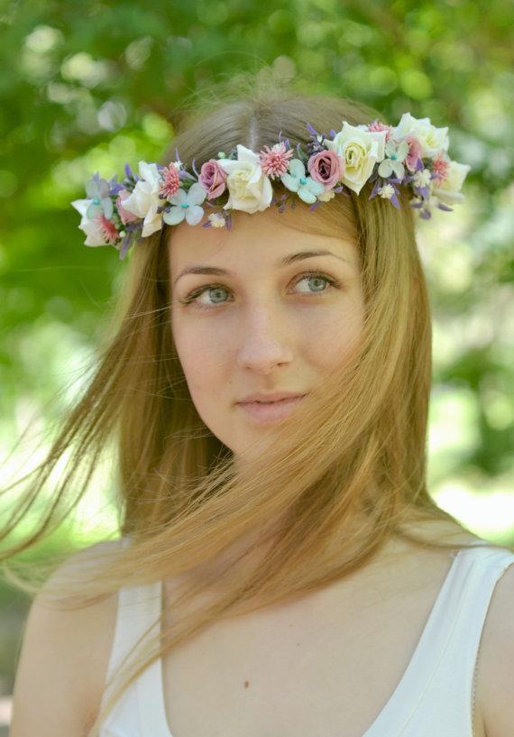 Wedding - Bridal floral hair accessory Boho flower crown Wedding flower crown Roses hair wreath Flower girl Rustic wedding halo purple white
