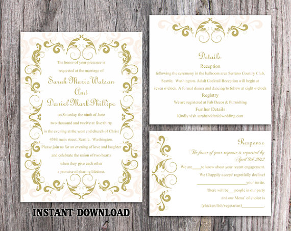 Wedding - DIY Wedding Invitation Template Set Editable Word File Instant Download Printable Green Invitation Olive Wedding Invitation Beige Invitation
