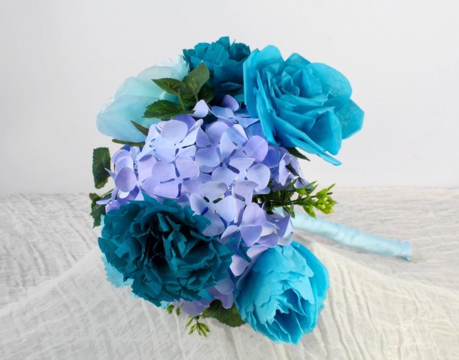 Wedding - Paper Flower Bouquet - Roses Hydrangeas Carnations and Peonies - Wedding Bouquet, Centerpiece, Handmade