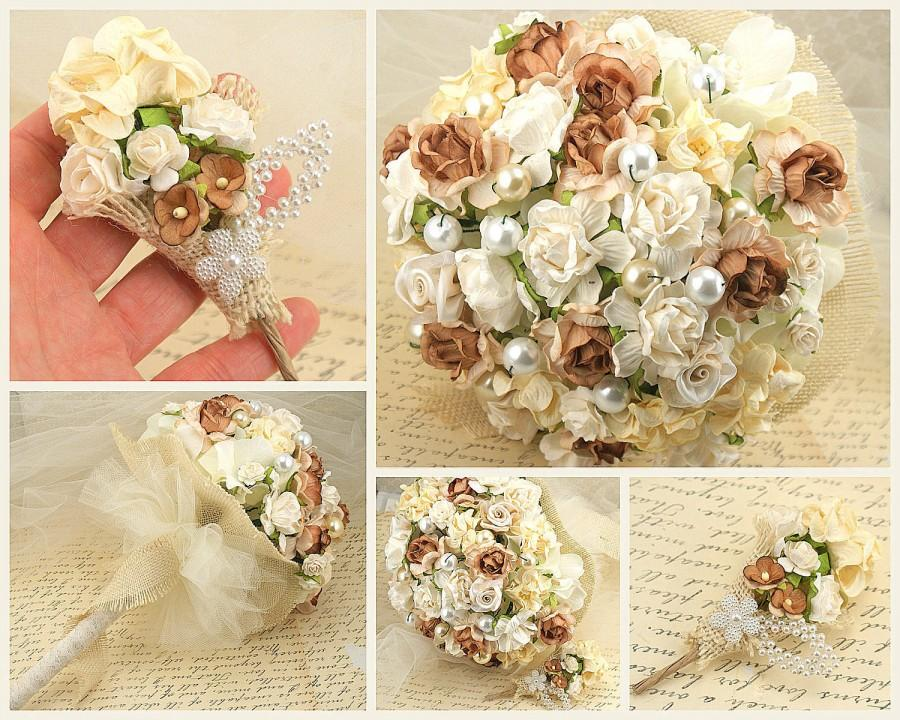 Hochzeit - Bouquet, Wedding, Paper, Fabric, Toss, Maid of Honor, Tan, Ivory, Cream, Champagne, Burlap, Tulle, Elegant, Light, Rustic