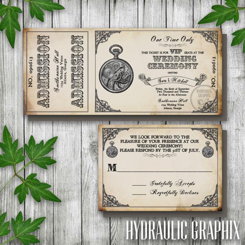 Steampunk Printable Ticket Wedding Invitation And Rsvp Printable