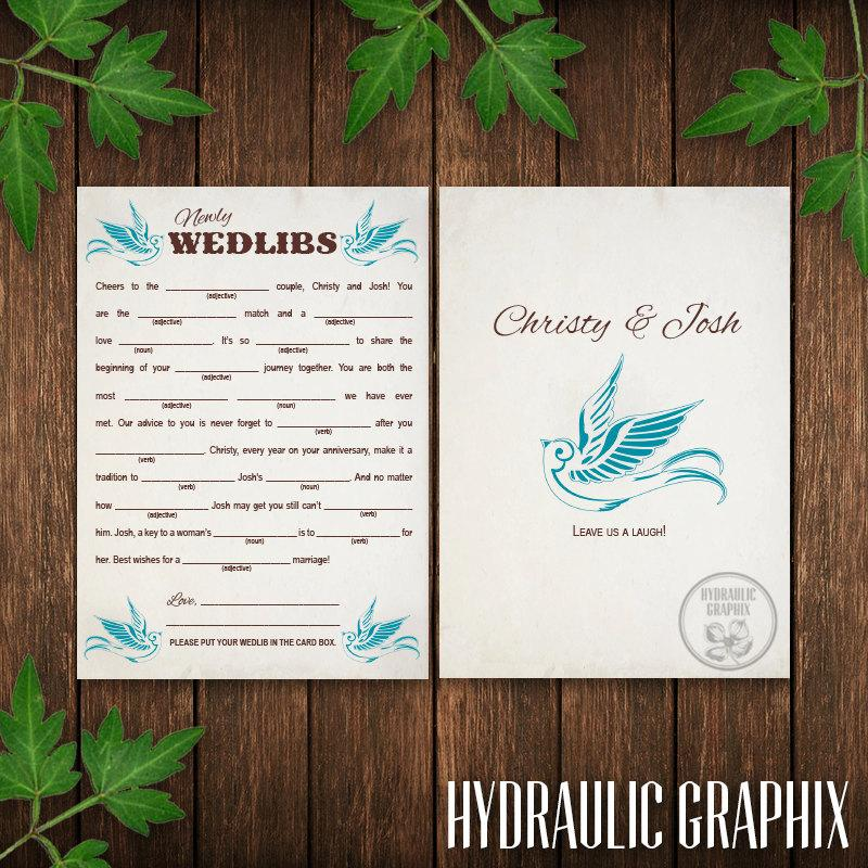Wedding - Wedding Mad Lib Card Printable, Wedlibs, Blue Bird Wedding, Guest Book Alternate, Reception Game, Welcome Bag Stuffer, Wedding Favor