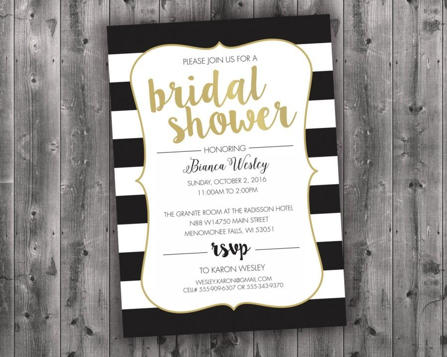 Cheap Shabby Chic Wedding Invitations: Black White & Gold Bridal Shower Invitations Printed