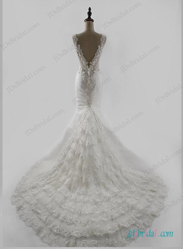 Mariage - Sexy deep v back mermaid lace train wedding dress