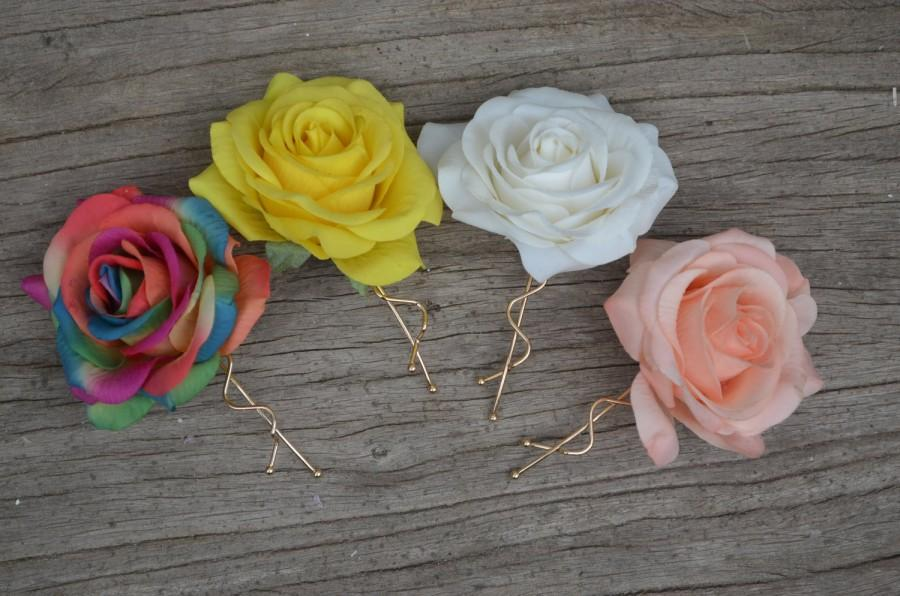 Wedding - Rainbow Wedding Flower Hair Clip- Colorful Real Touch Red Roses Hair Clip, Rose Hair Clips, Bridal Hair Flower, Flower Girls Hair Pin