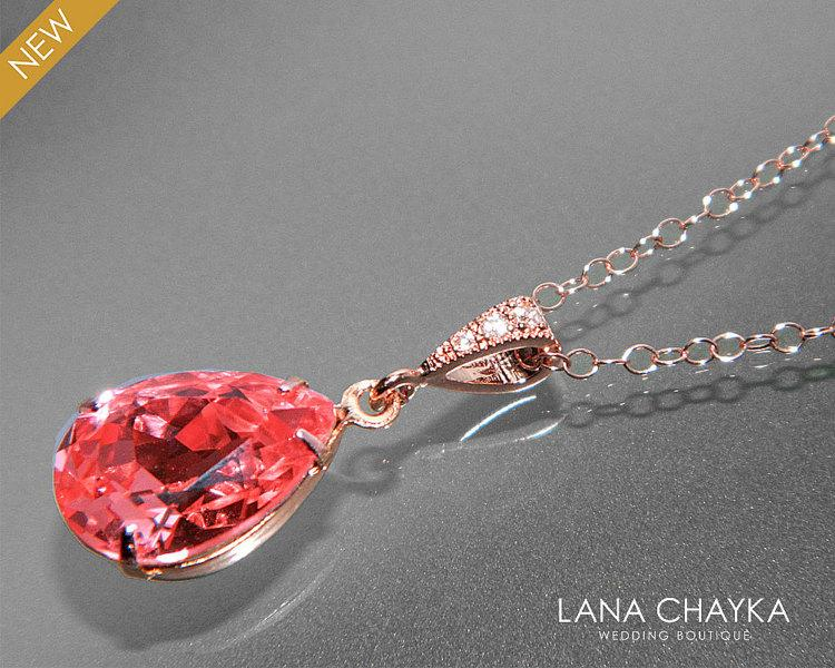 2575a17c75ce Rose Gold Crystal Necklace Swarovski Rose Peach Rhinestone Teardrop  Necklace Peach Coral Rose Gold Wedding Necklace Bridesmaid Peach Jewelry