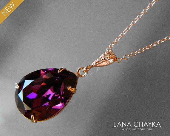 4a21224d59f49 Amethyst Rose Gold Teardrop Crystal Necklace Swarovski Amethyst ...