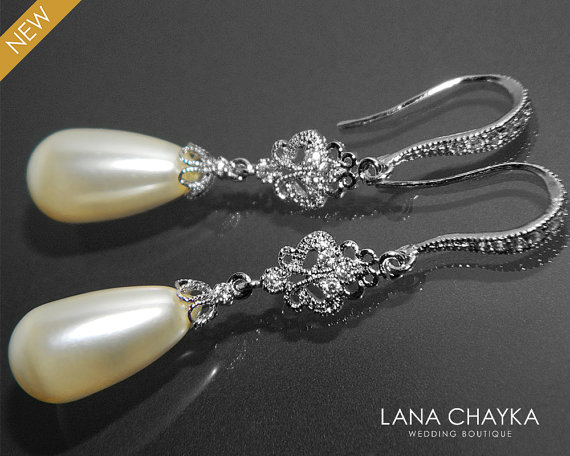 Boda - Bridal Pearl Chandelier Earrings Swarovski Ivory Teardrop Pearl CZ Earrings Wedding Pearl Silver Earrings Bridal Bridesmaids Pearl Jewelry