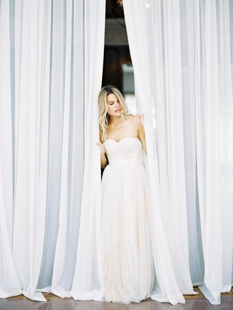 Wedding - FINAL SALE Sequin Wedding Dress «Cassandra», Sequin Gown With Tulle Skirt
