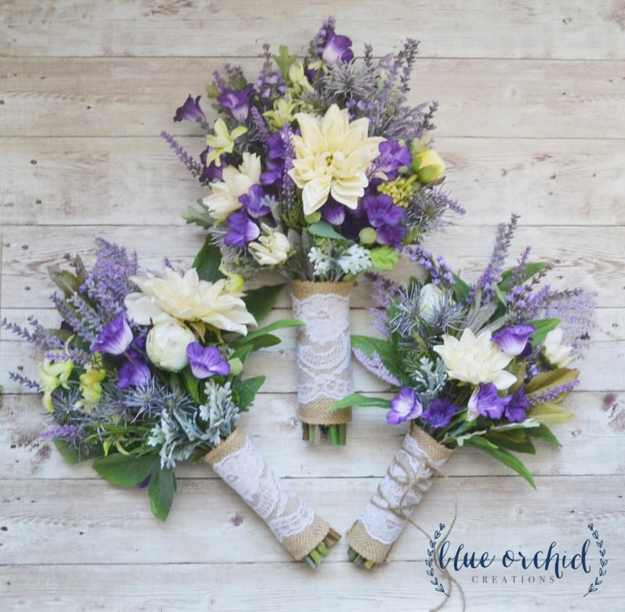Mariage - Wildflower Wedding Bouquet with Bridesmaid Bouquet and Toss Bouquet