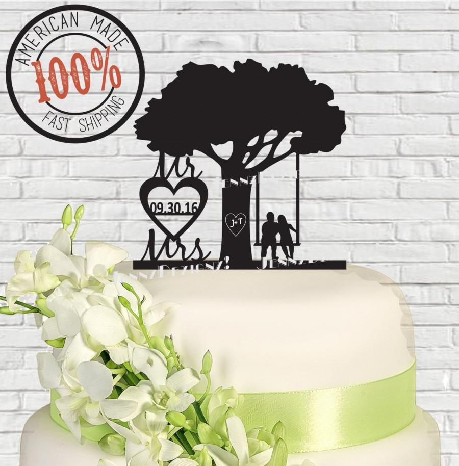 Свадьба - Mr & Mrs Date in Heart Carved LettersTree Silhouette  Couple In A Swing Wedding Cake Topper MADE In USA…..Ships from USA