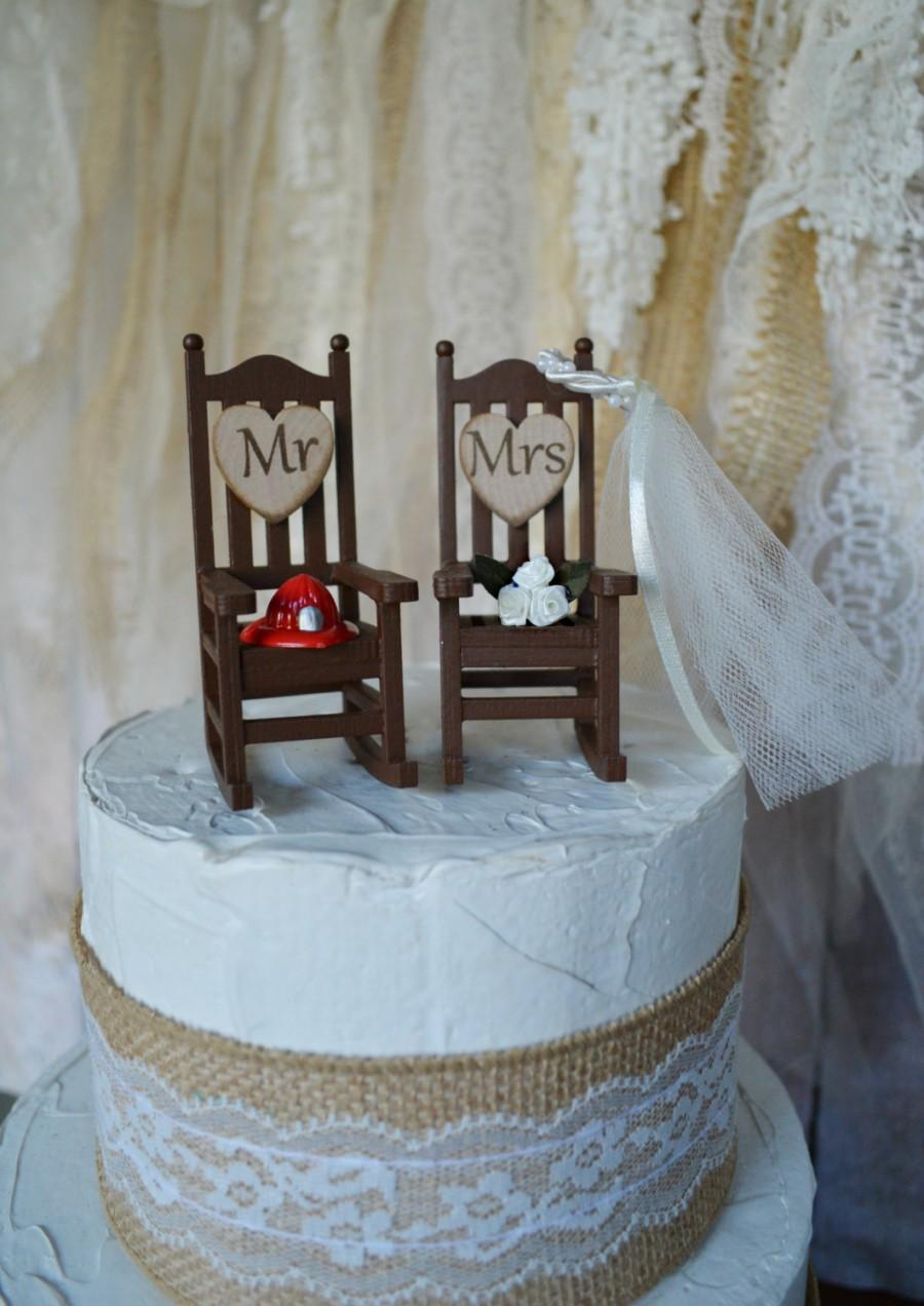 Mariage - Fire fighter wedding cake topper firefighter themed camping rocking chair small chair Mr and Mrs wedding sign bride and groom fireman groom