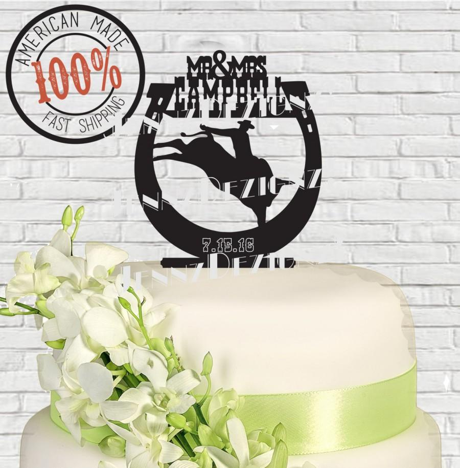 Свадьба - Western Silhouette Couple Bull Riding in Horseshoe Surname Date Wedding Cake Topper  Made in USA