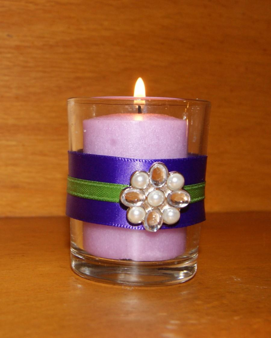 Mariage - Purple Wedding / Peacock Wedding / Wedding Votive Candle Holder / Wedding Lighting / Purple and Emerald Wedding / Rhinestone & Pearl Brooch