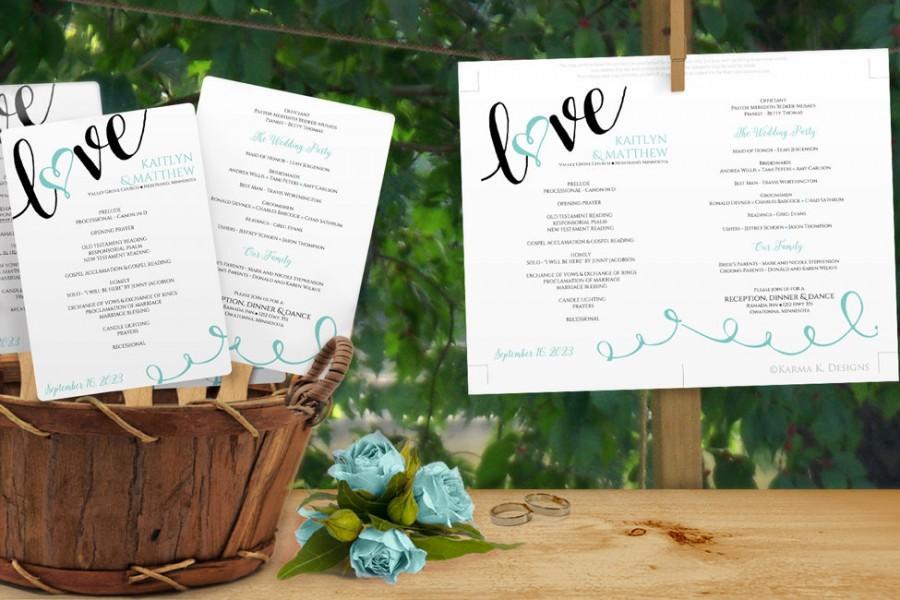 Mariage - Diy Wedding Fan Program -DOWNLOAD Instantly - EDITABLE TEXT - Love Script (Black & Light Turquoise) 5 x 7 - Microsoft® Word Format (docx)