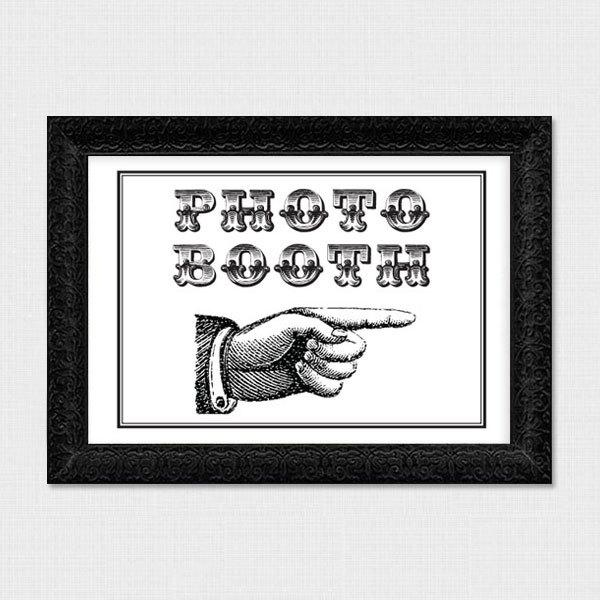Wedding - vintage pointing hand photo booth sign - printable file instant download digital file wedding PhotoBooth directions