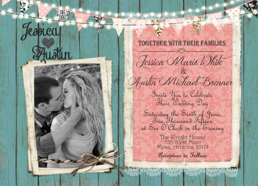 Wedding - Rustic Coral and Mint Wedding Invitation, Invite, Lights, Banner, Wood, Photo Invitation, Digital File, Printable, 5x7
