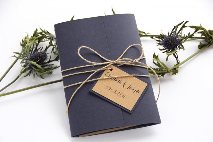 Mariage - Navy Blue Wedding Invitation, Rustic Wedding Invitation, Twine Wedding Invitation, Wedding Invitation Set, Wedding Invitation Suite