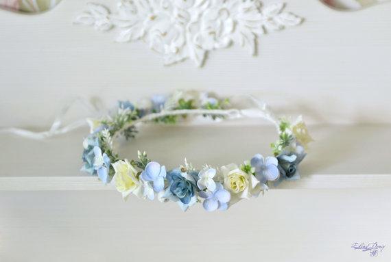 Light Blue Wedding Flower Crown Blue White Floral Hair Wreath Boho ...