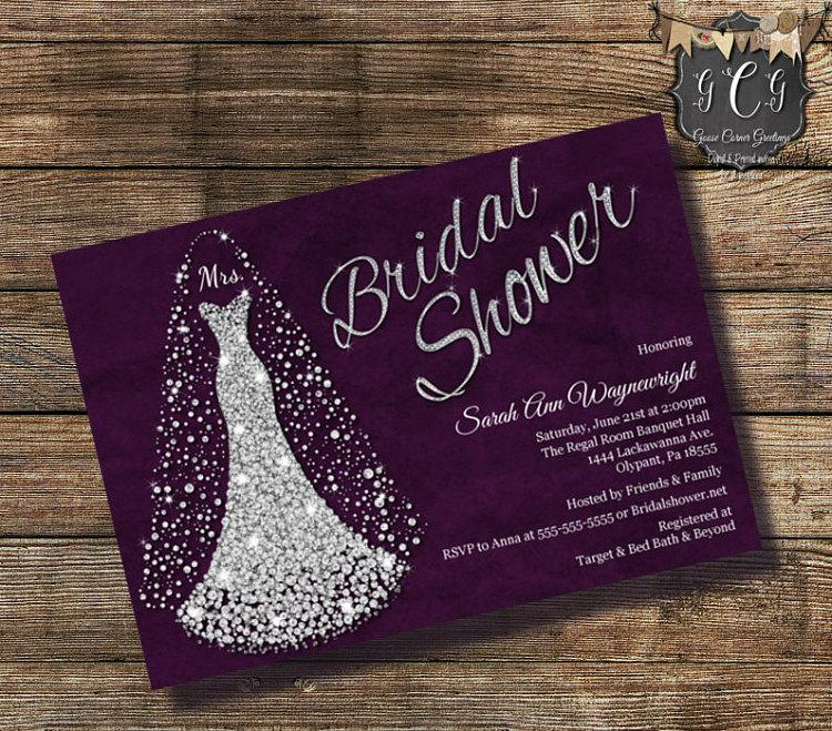 Wedding - Wedding Dress Invitation, Bridal Shower Invitation,Bridal Gown invitation, Bridal Shower invite, Rhinestone Invitation, printable invitation